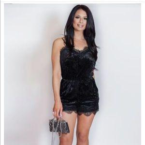 Dresses & Skirts - Velour Lace Romper